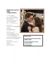English Worksheets: Twilight Movie song: Flightless Bird, American Mouth