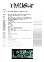 English Worksheet: Twilight