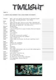 English Worksheet: Twilight