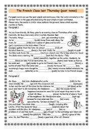 mr busy s french class easier version past tense esl worksheet by amanda w. Black Bedroom Furniture Sets. Home Design Ideas