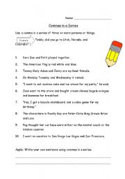 English teaching worksheets: Commas