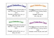 English Worksheets: Word Detective Cards