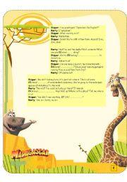 English Worksheet: MADAGASCAR MOVIE SEGMENT 2- SCRIPT-2/2