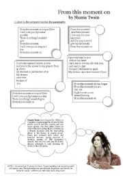 English Worksheet: Song: From this moment on by Shania Twain