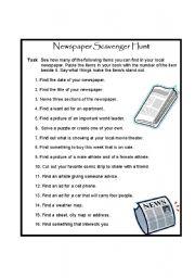 English worksheet: Newspaper Scavenger Hunt
