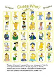 English Worksheet: GUESS WHO? (GAME)