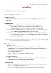 English Worksheets: storytelling + multiple intelligence