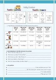 English Worksheets: Daily routine- possible questions and answers- exercises- 2 pages