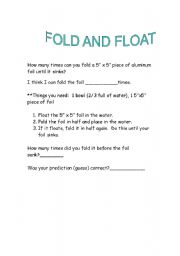 English Worksheets: Fold and Float