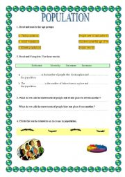 English Worksheet: clil: population