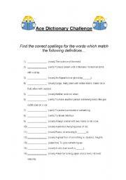 english worksheets ace dictionary challenge. Black Bedroom Furniture Sets. Home Design Ideas