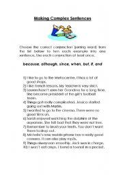 English Worksheet: Making Complex Sentences