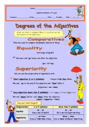 English Worksheet: Degrees of the Adjectives - Comparatives (English Version)