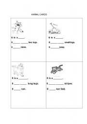 English Worksheets: animal cards