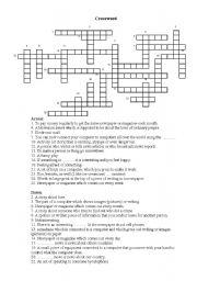 English Worksheet: Crossword on Mass Media