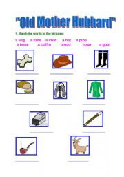 English Worksheets: Old Mother Hubbard  (3 exercises)