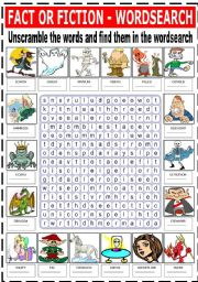 English Worksheets: FACT OR FICTION - WORDSEARCH