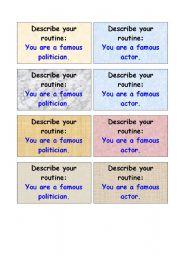 English Worksheet: Talk about your routine - activity cards (2 pages)
