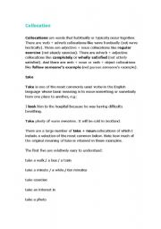 English Worksheets: Collocation_Take