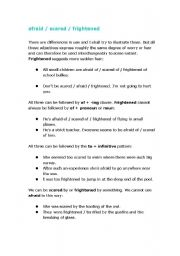 English Worksheets: Collocation_afraid / scared / frightened