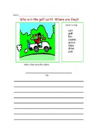 English Worksheet: who is in the golf cart?