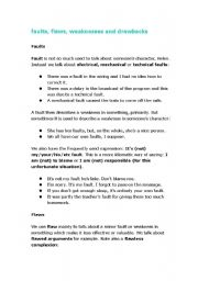 English Worksheets: Collocations_faults, flaws, weaknesses, drawbacks