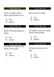 English Worksheets: Fact and Opinion Task Cards