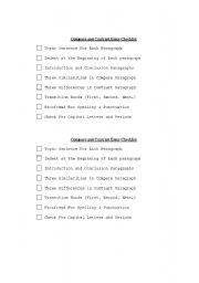English Worksheets: Compare Contrast Checklist