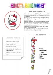English Worksheet: hello kitty reading and exrcises