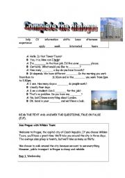 English Worksheet: Dialogue completion, reading passage about Prague, true-false exercises