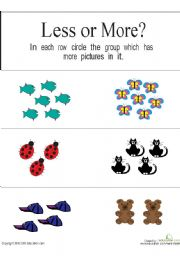 English Worksheets: more or less