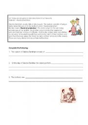 English Worksheets: The Festival of Brother and Sister