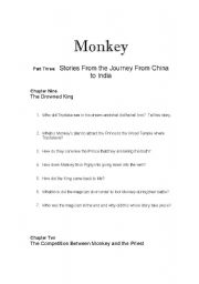 English Worksheets:    Monkey: Journey to the West Chapters 9 and 10