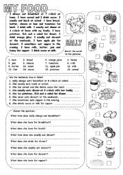 English Worksheet: MY FOOD