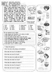 English Worksheets: MY FOOD