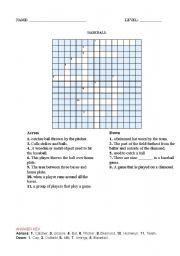 English Worksheet: BASEBALL CROSSWORD