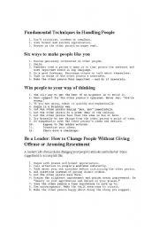 English Worksheets: Dale Carnegie tips