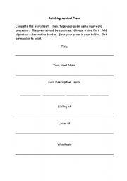 English Worksheet: Autobiography Poem