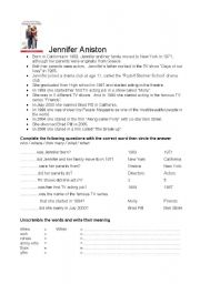 English Worksheets: Jennifer Aniston fact file