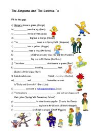 English Worksheet: The Simpsons and the genitive `s