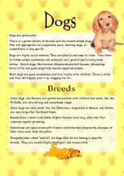 English Worksheets: Dogs - Reading Comprehension