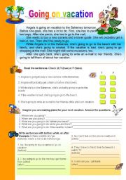English Worksheet: Going on vacation