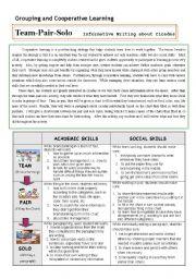 English Worksheets: Cooperative Learning (Writing)