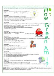 English Worksheets: How Green Am I?