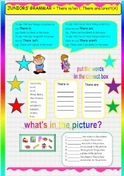 English Worksheets: JUNIORS� GRAMMAR THERE IS-THERE ARE(PART A)