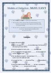 English Worksheet: Modals of Deduction  MUST  CAN�T