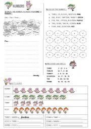 English Worksheet: NUMBERS 1 TO 20