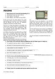 English Worksheet: Mass Media Influence (29 / 4 / 09)