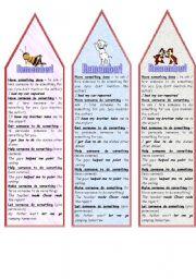 English Worksheets: HAVE - GET - HELP - MAKE - LET (BOOKMARKS)