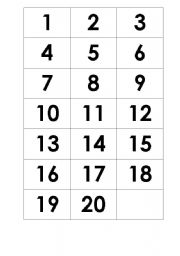 English Worksheets: Numbers - Memory game